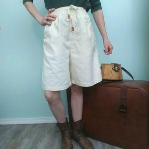 Vintage wide leg high waist bermuda safari shorts
